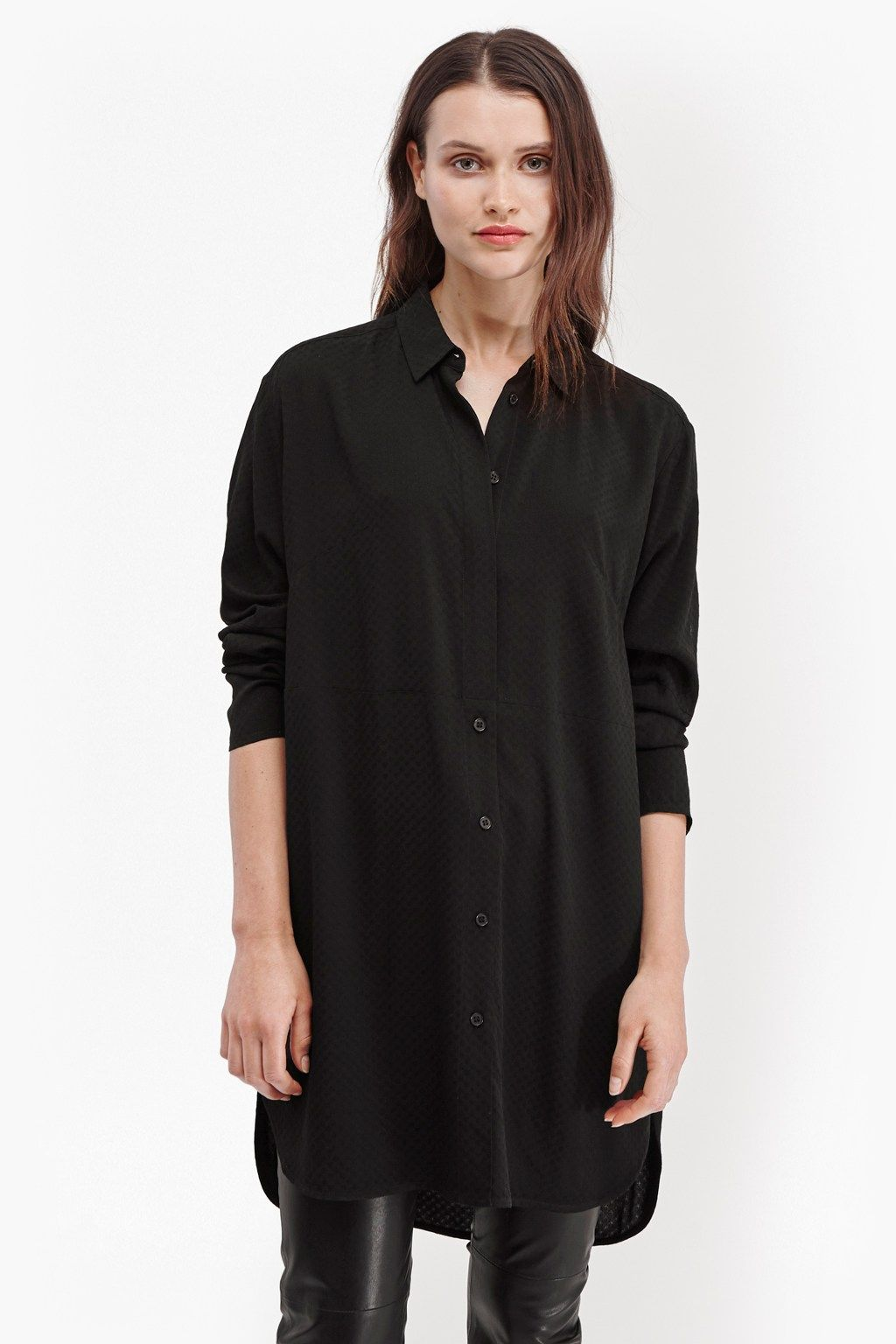 51b286a3871b5 Embroidery Dot Longline Shirt