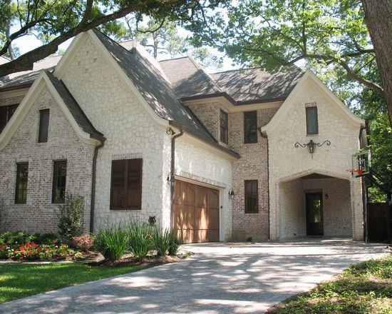 White Stone Exterior stone and stucco house with brick accents |  of the exterior