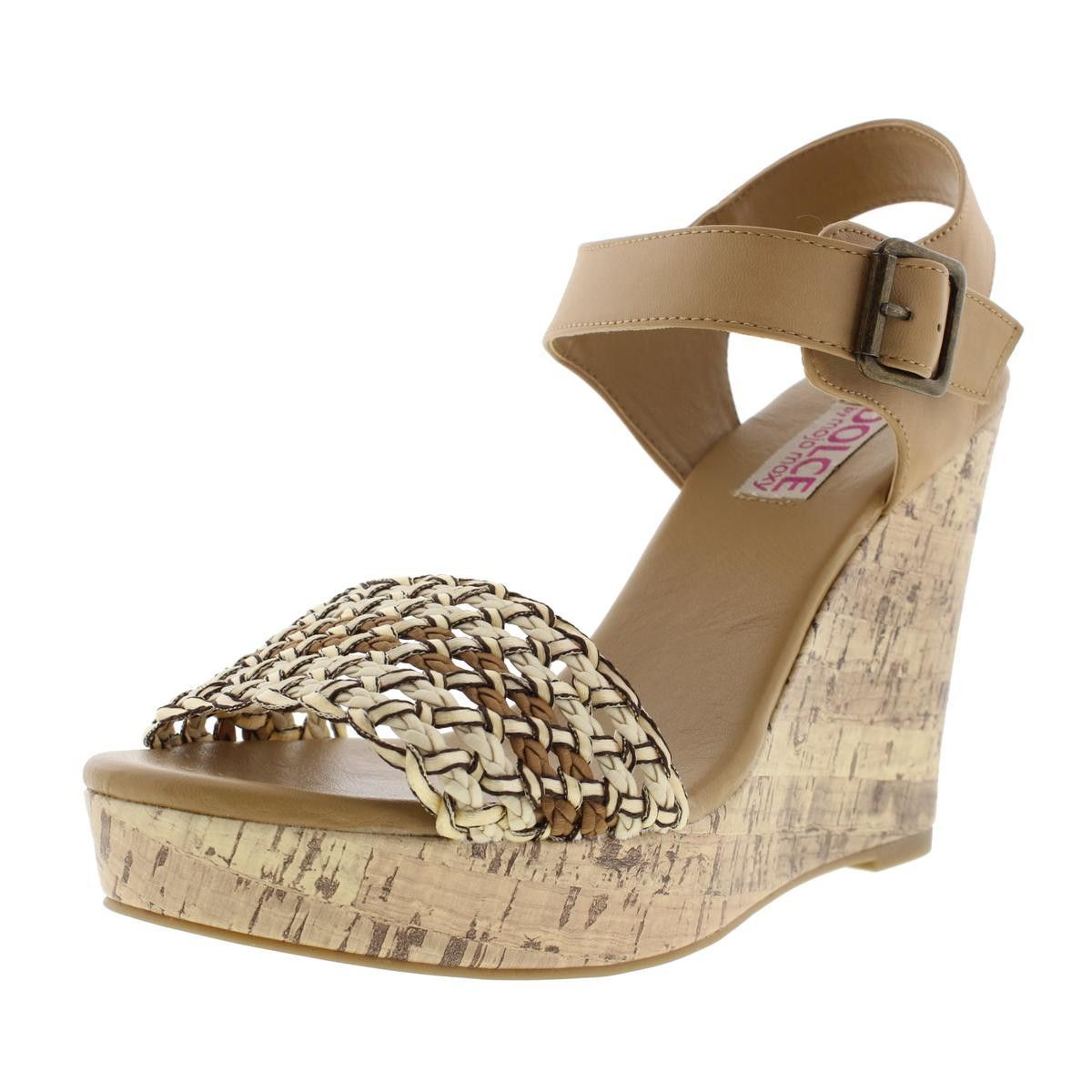 Dolce by Mojo Moxy Womens Athena Faux Leather Braided Wedge Sandals