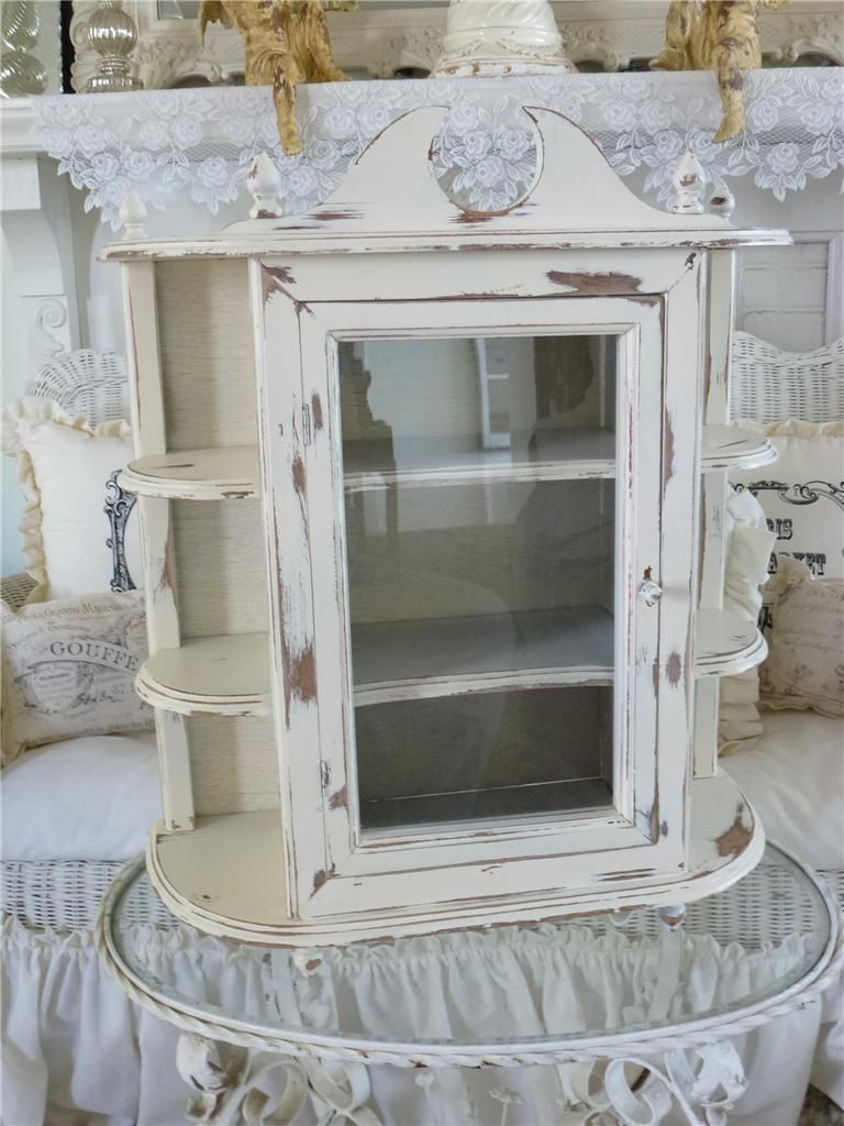 Large Vintage Country Farmhouse Wall Curio Cabinet Shelf Creamy French White - Large Vintage Country Farmhouse Wall Curio Cabinet Shelf Creamy