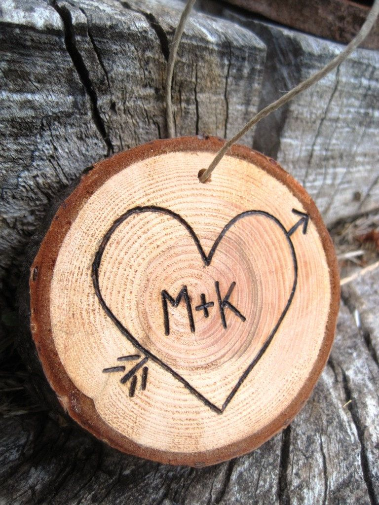 Your initials in a heart christmas ornament from a fallen tree