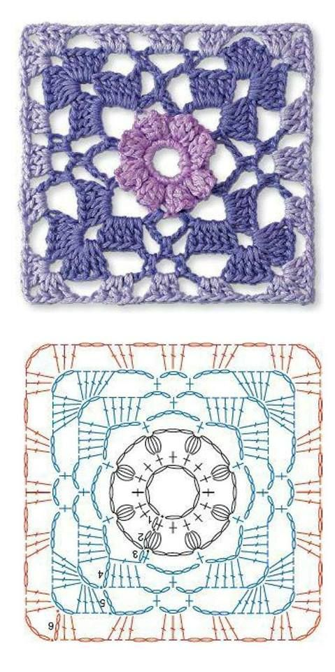 Crochet granny flower diagram. | grannies | Pinterest | Puntos ...
