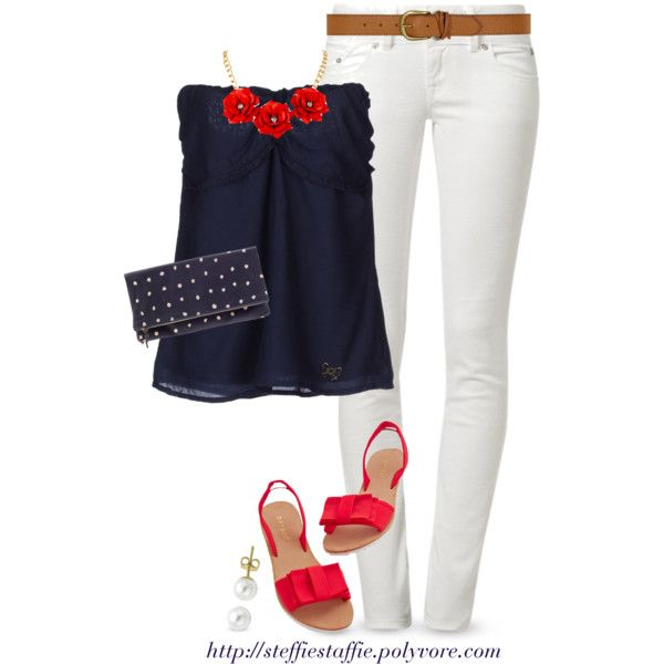 """""""Red, White & Blue"""" by steffiestaffie on Polyvore"""