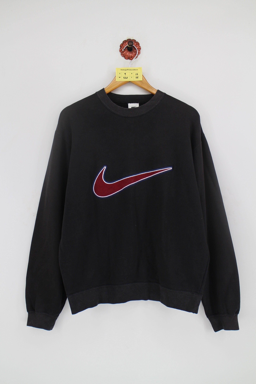 Vintage 1990 S Nike Swoosh Pullover Sweatshirt Unisex Large Nike Air Sportswear Big Logo Nike Streetwear Black Jumper Sweater Mens Size L Activewear Blue Bomber Jacket Embroidery Used Clothing [ 3000 x 2000 Pixel ]
