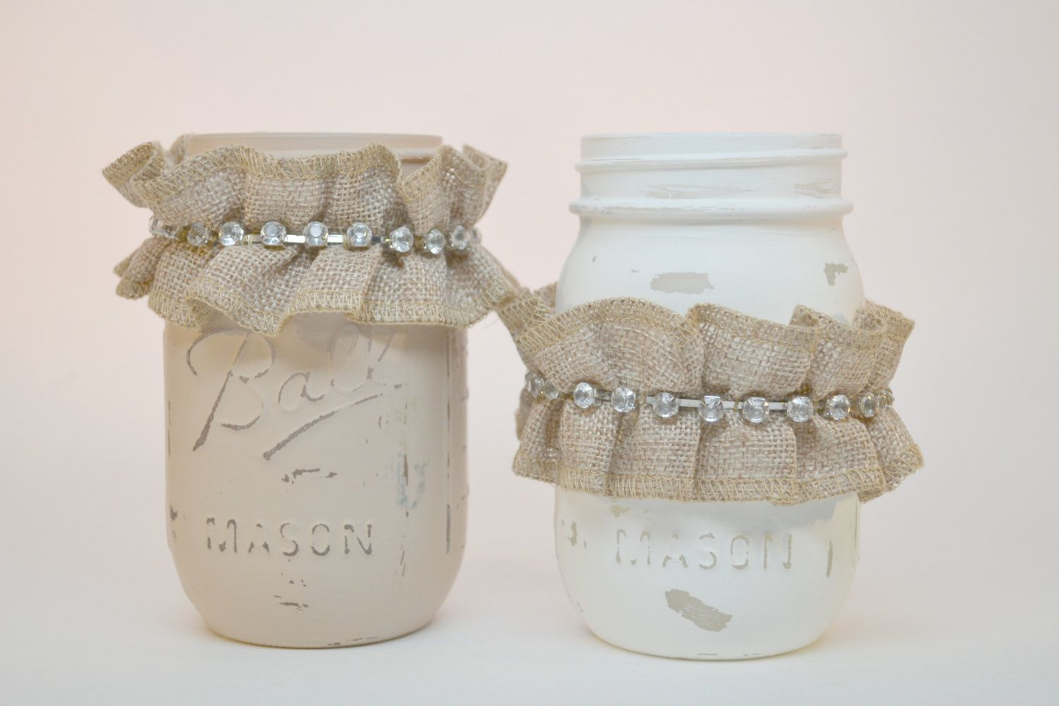Painted Rustic Mason Jar, Distressed Mason Jars, Tan and Cream ...