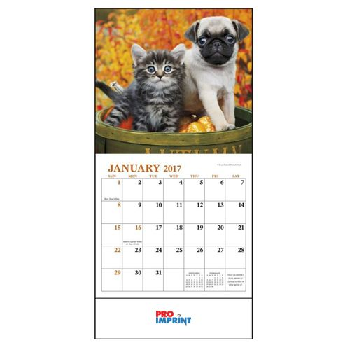 Custom imprinted 2017 puppies and kittens mini wall calendars available color white product