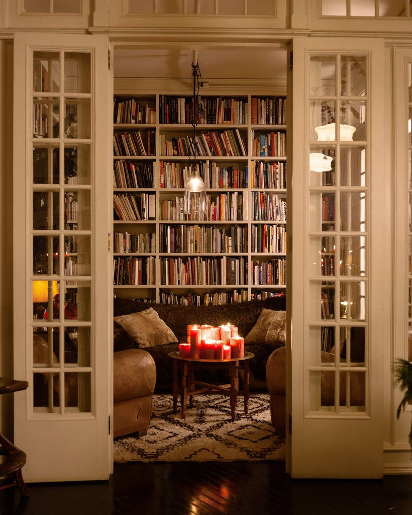 festive entertaining tips from the design duo behind roman and williams in home library library office designs bookshelves - Home Library Bookshelves