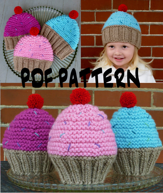 Cupcake Hat Knitting Pattern Knit Cupcake Hat by BoPeepsBonnets e49eea4a100