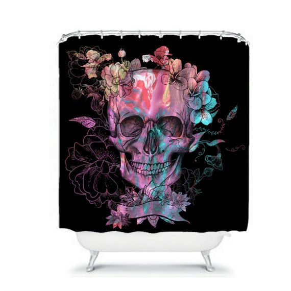 Day Of The Dead Bathroom Set: Skull Shower Curtain Black Purple Swirl Floral By