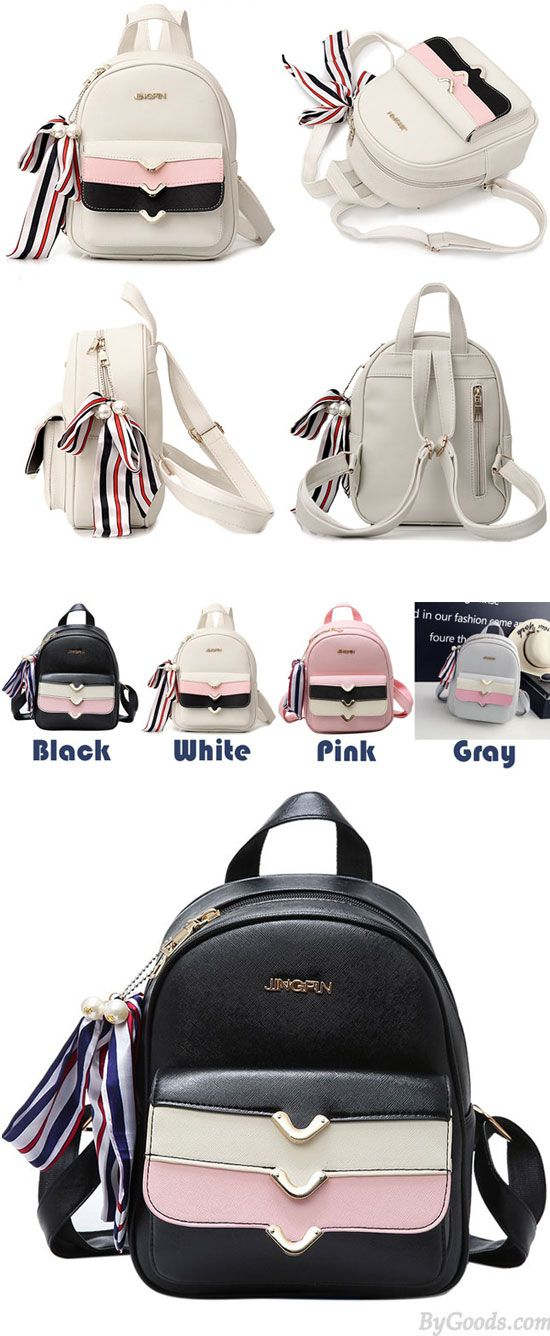 894801ae9f Lovely PU Colorful Stripes Flap Decorative Backpack Street Style Small  School Backpack  pu  stripe  street  school  backpack  bag  college   student  travel ...