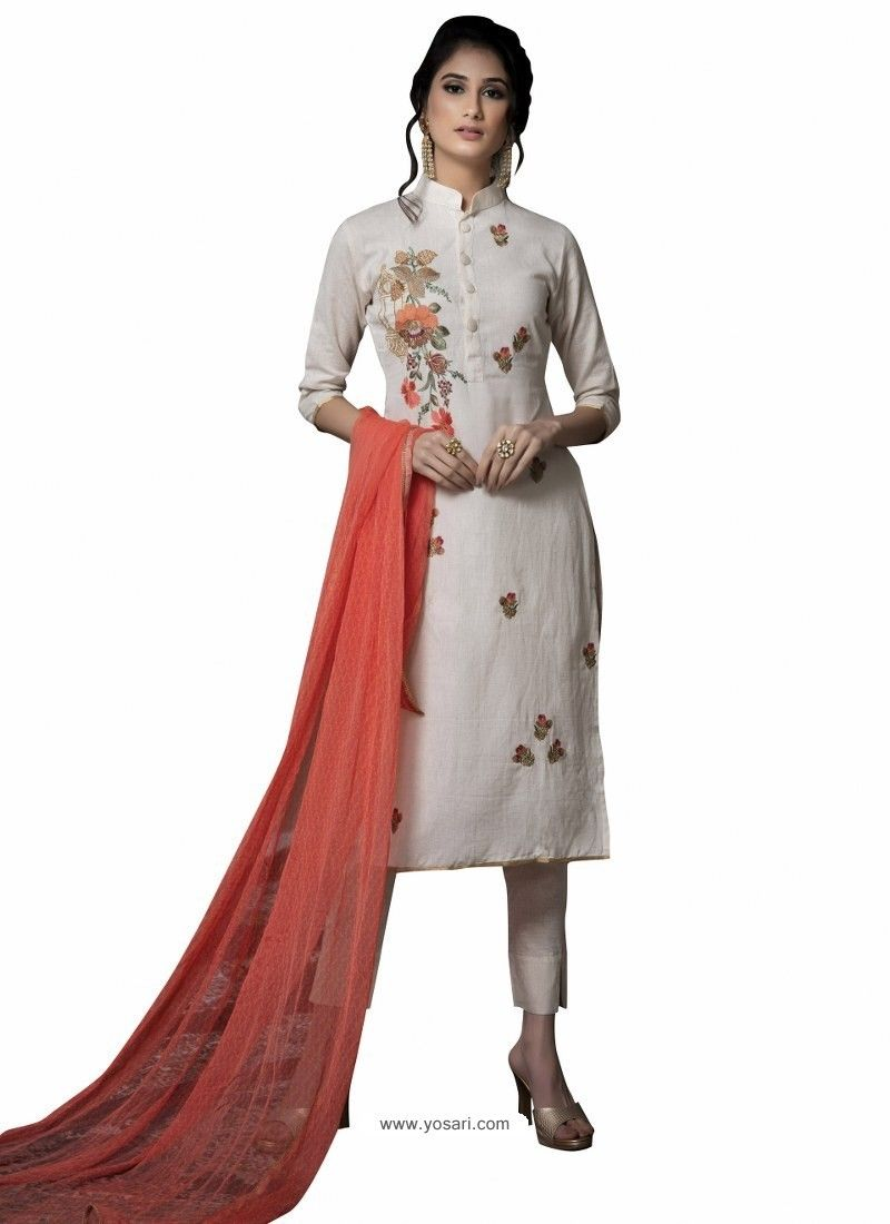 0187f77c51 Fabulous Off White Embroidered Straight Salwar Suit in 2019 ...