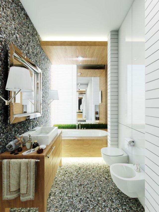 Bad Mosaik Fliesen Kies Imitat Kombination Holz Badmöbel Indirekte  Beleuchtung
