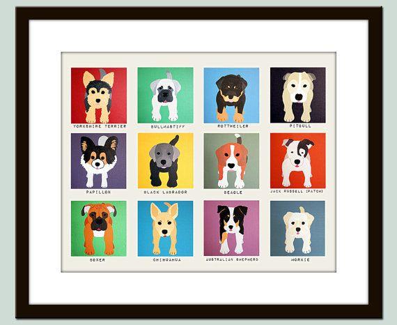 Cute Dog Wall Prints. Dog Nursery Pictures Kids Wall Art, Kids Decor. 11x14