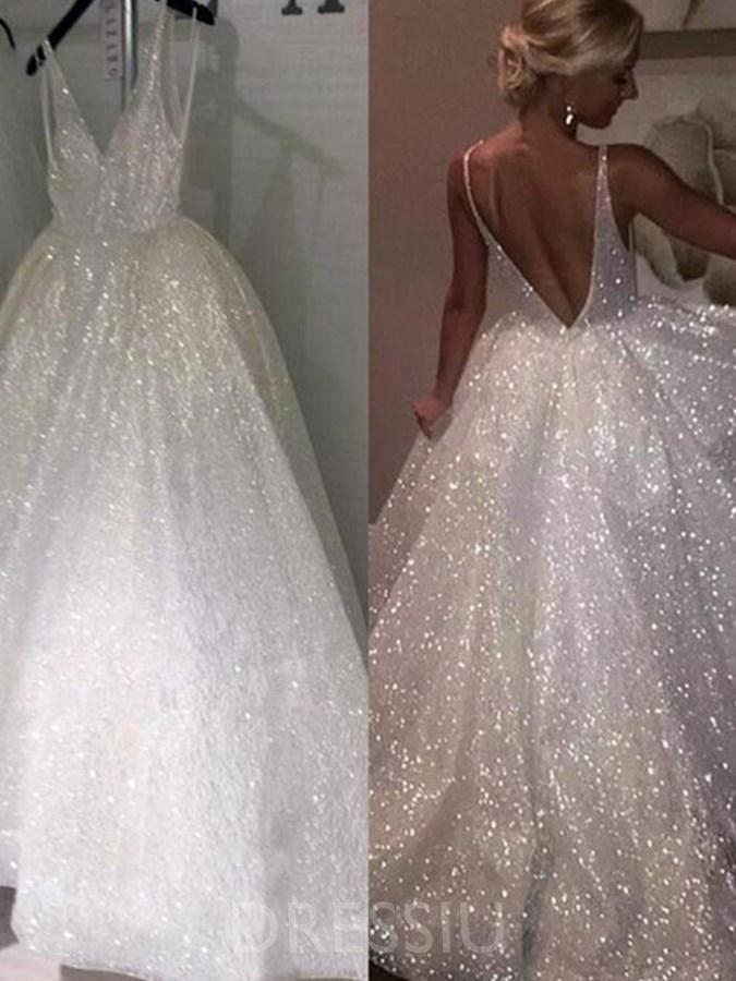 Ball Gown V Neck Sleeveless Empire Beach Wedding Dress Sparkle Wedding Dress Sparkly Wedding Dress Wedding Dresses Cinderella