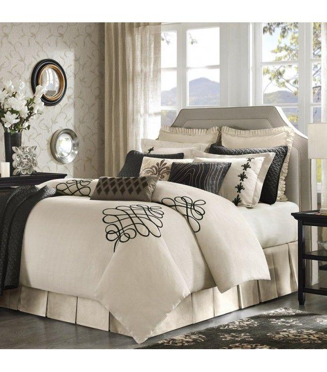 Cream Fleur De Lis Comforter Set Brown Accents King Or