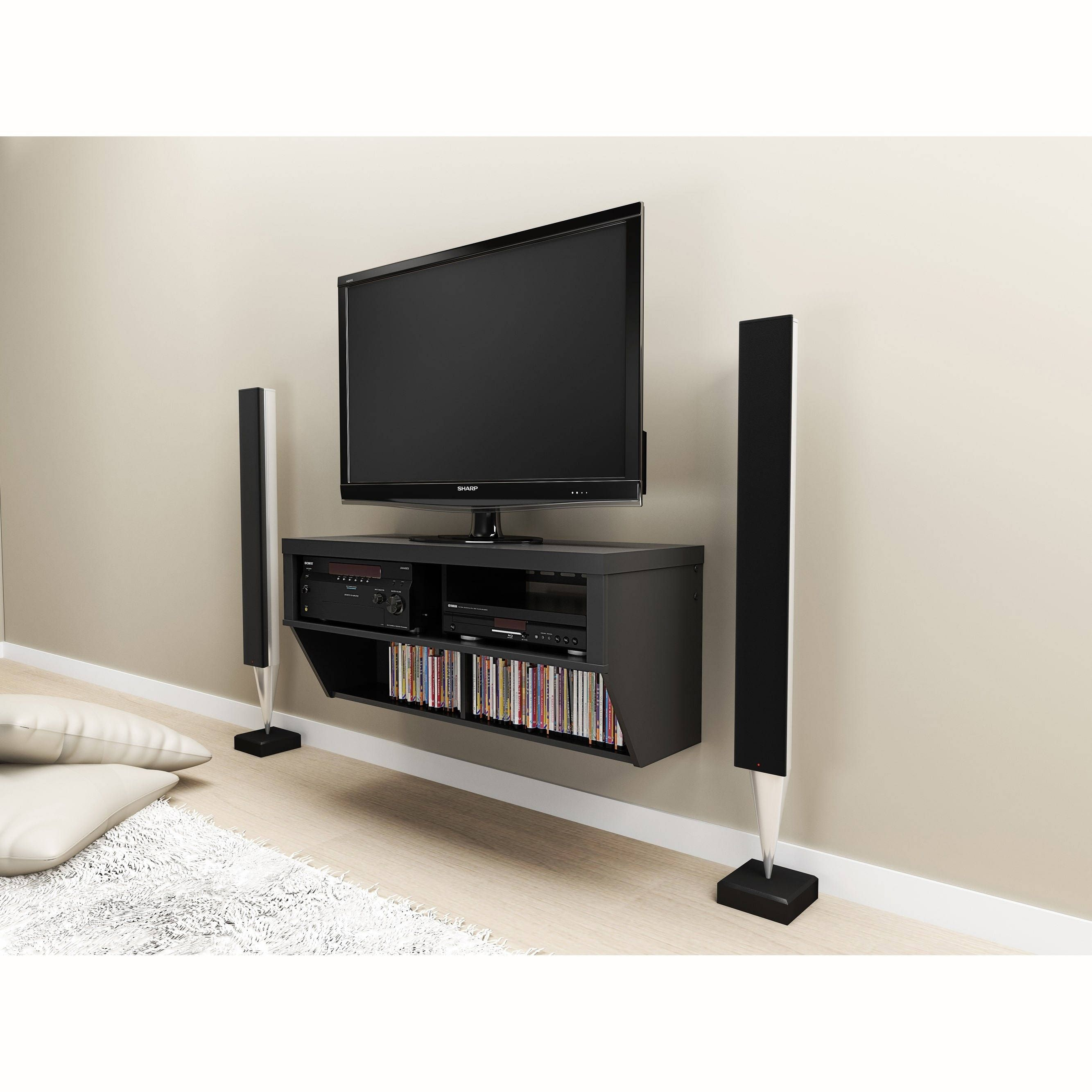Prepac Valhalla Designer Collection Black 42 Inch Wide Wall Mounted AV  Console (Black 42 Wide Wall Mounted AV Console)