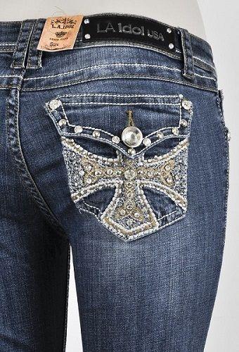 LA IDOL Plus Size 19 Boot Cut Jeans Blue Studs & BLING P3356BT-F ...