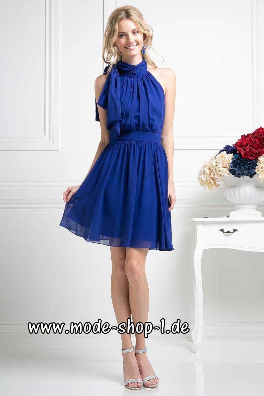 Chiffon Cocktailkleid Leontine in Blau Elegant #cocktailkleid