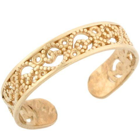 10k Solid Yellow Gold Filigree Toe Ring Jewelry Liquidation 79 26 Made In Usa Made With Solid 10k Gold Gold Toe Rings Toe Rings Jewelry