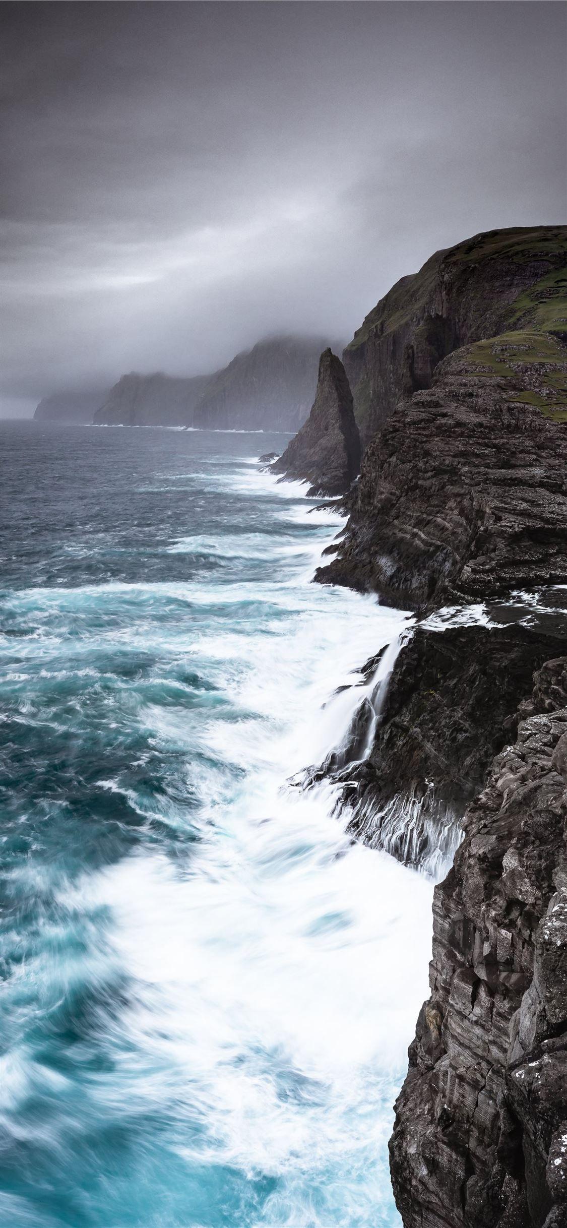 waves crashing sea cliffs digital wallpaper iPhone 11 Wallpapers