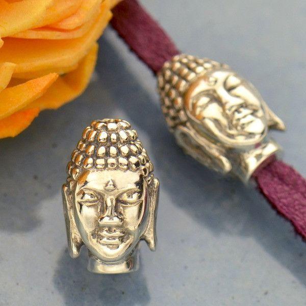 Silver Buddha Head Bead