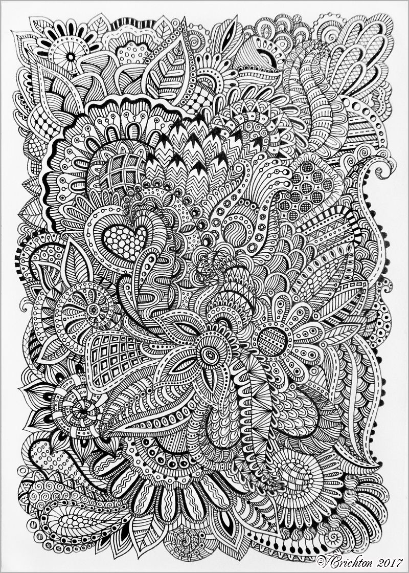 Zentangle Art Liner Viktoriya Crichton Blackandwhite