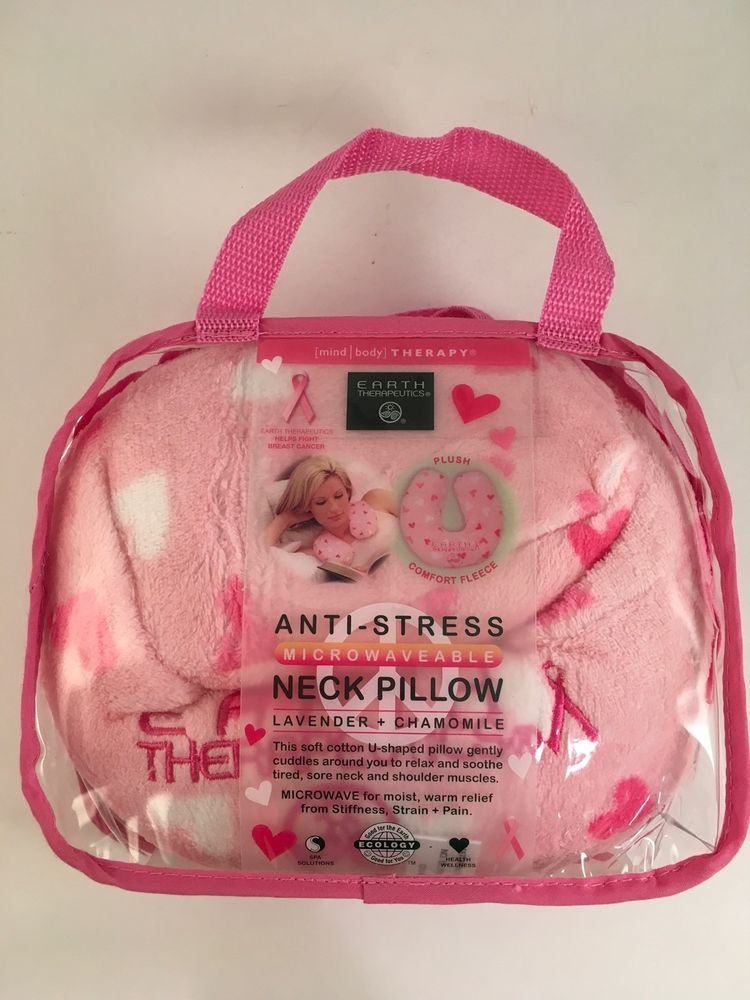 Earth Theutics Pink Microwaveable Neck Pillow Lavender Chamomile Hot Cold Earththeutics