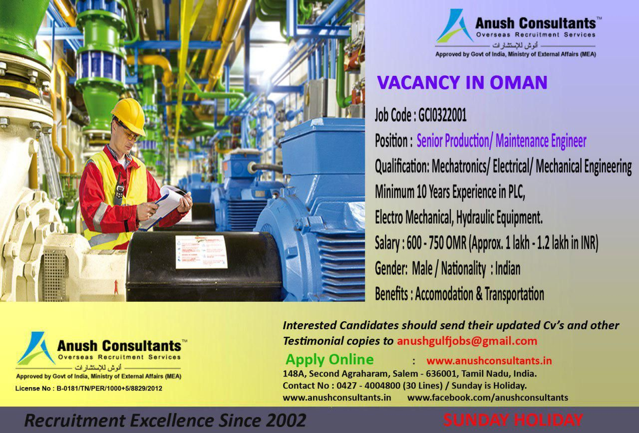 Senior Production/ Maintenance Engineer Vacancy in Oman