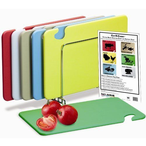 San Jamar Cb1520kc 6 Piece Cut N Carry Co Polymer Board System Set