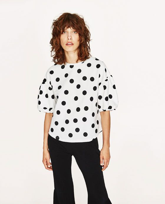 ab2190ef6fc Image 7 of POLKA DOT T-SHIRT WITH PUFFY SLEEVES from Zara   Blouses ...