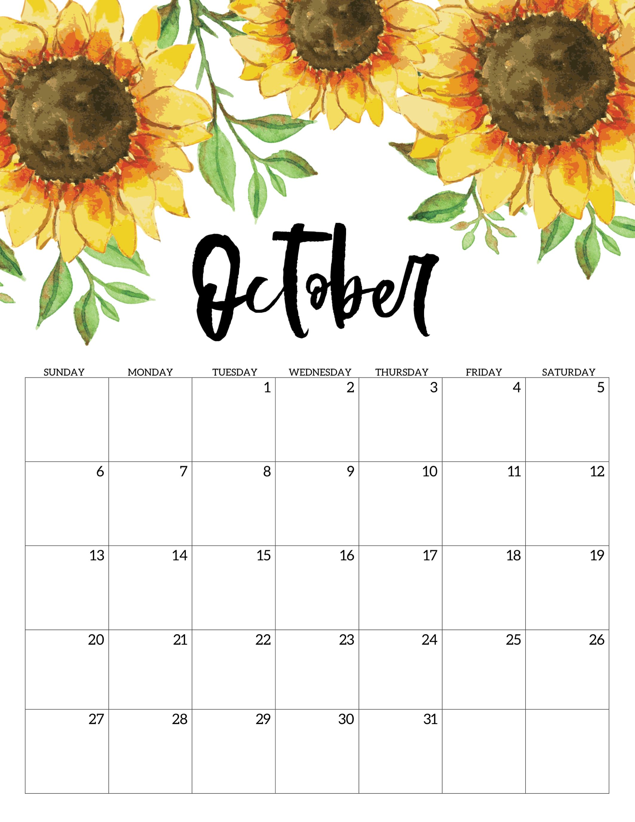 Cool Calendar Printable By Month 2020 October Halloween For School October Floral Calendar 2019 #october #oct2019 #october2019