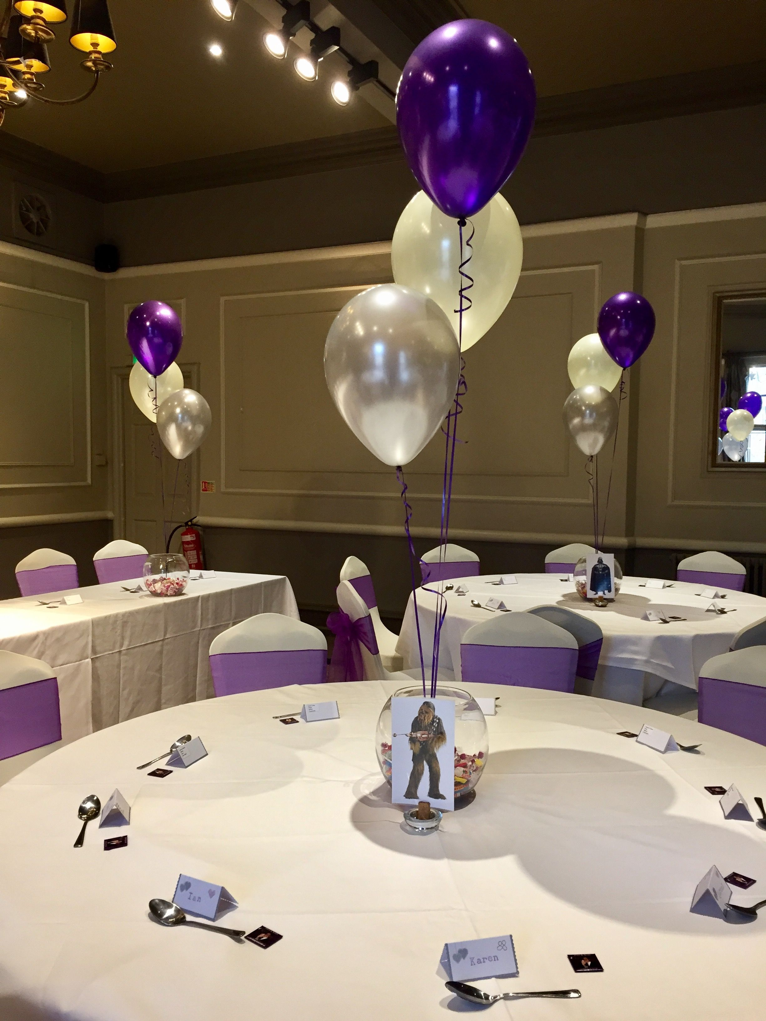 ivory decor and party purple wedding balloons manor hotel at silver the decorations pin