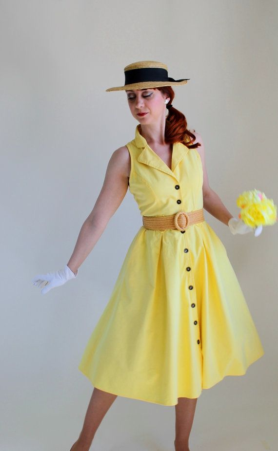 Bright Yellow Summer Dress Mad Men Fashion Weddings By Gogovintage 4400