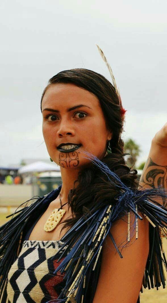 Female Ta Moko On Lips And Chin