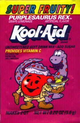 Purplesaurus Rex Kool Aid Another Flavor I Got Stuck On When My Kids Were Little And Then Had It Taken Away Kool Aid Retro Poster Vintage Cartoon