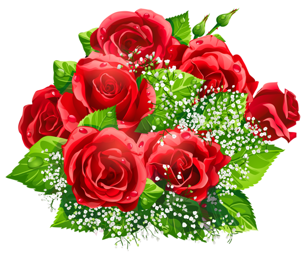 Beautiful Red Roses Decor PNG Clipart