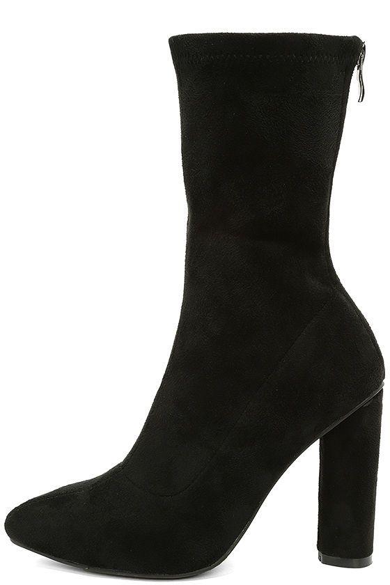 Unbelievably Chic Black Suede High Heel Mid Calf Boots Boots Black Suede Mid Calf Black Heel Boots Mid Calf Boots Calf Boots