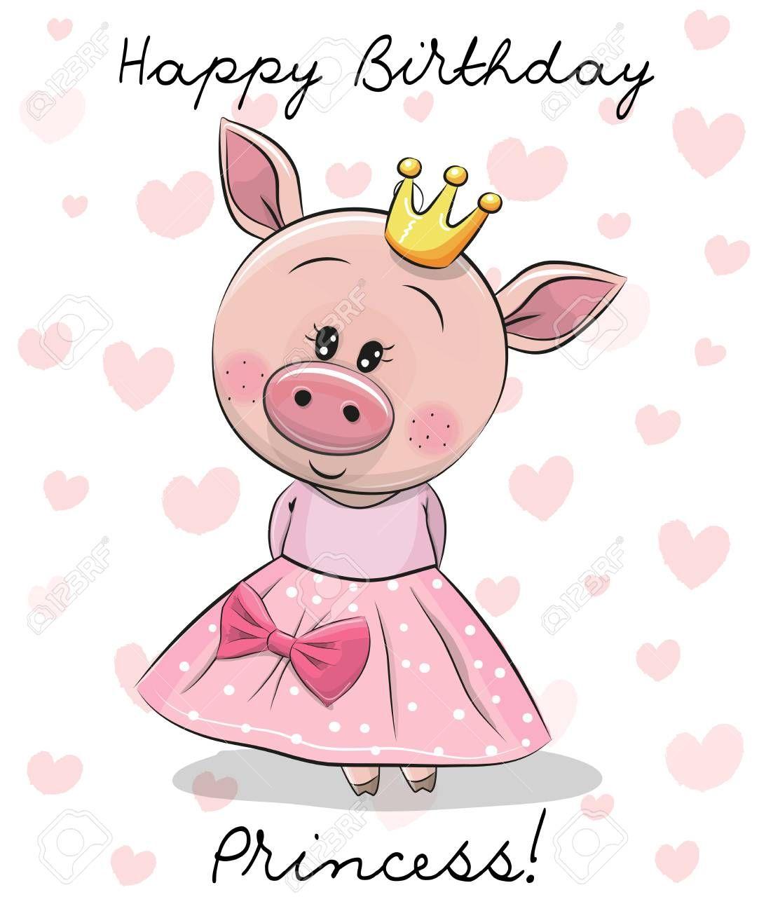 Happy Birthday Card With Cute Princess Pig Illustration