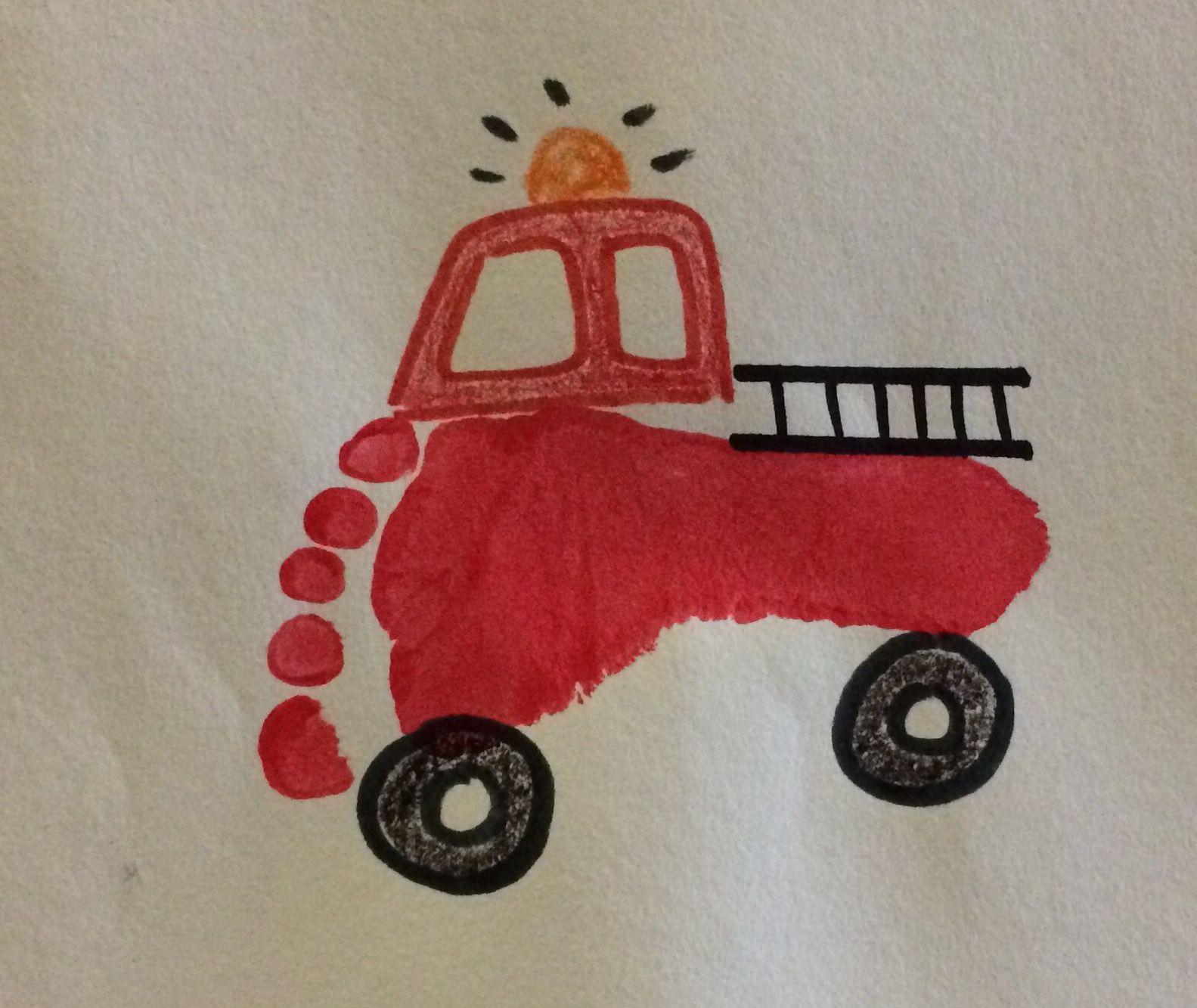 foot print fire truck art footprint and handprint art