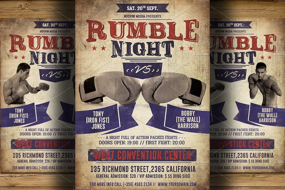 Vintage Boxing Flyer Poster Template Psd Files Boxing Related