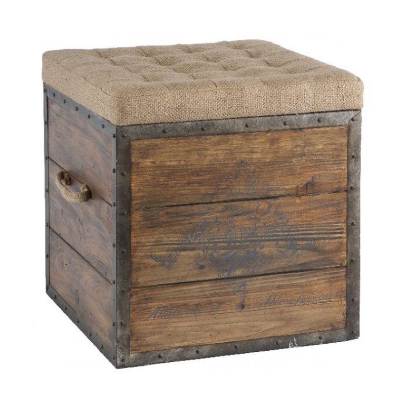 Storage Stools | French Emblem Dark Wood Storage Stool