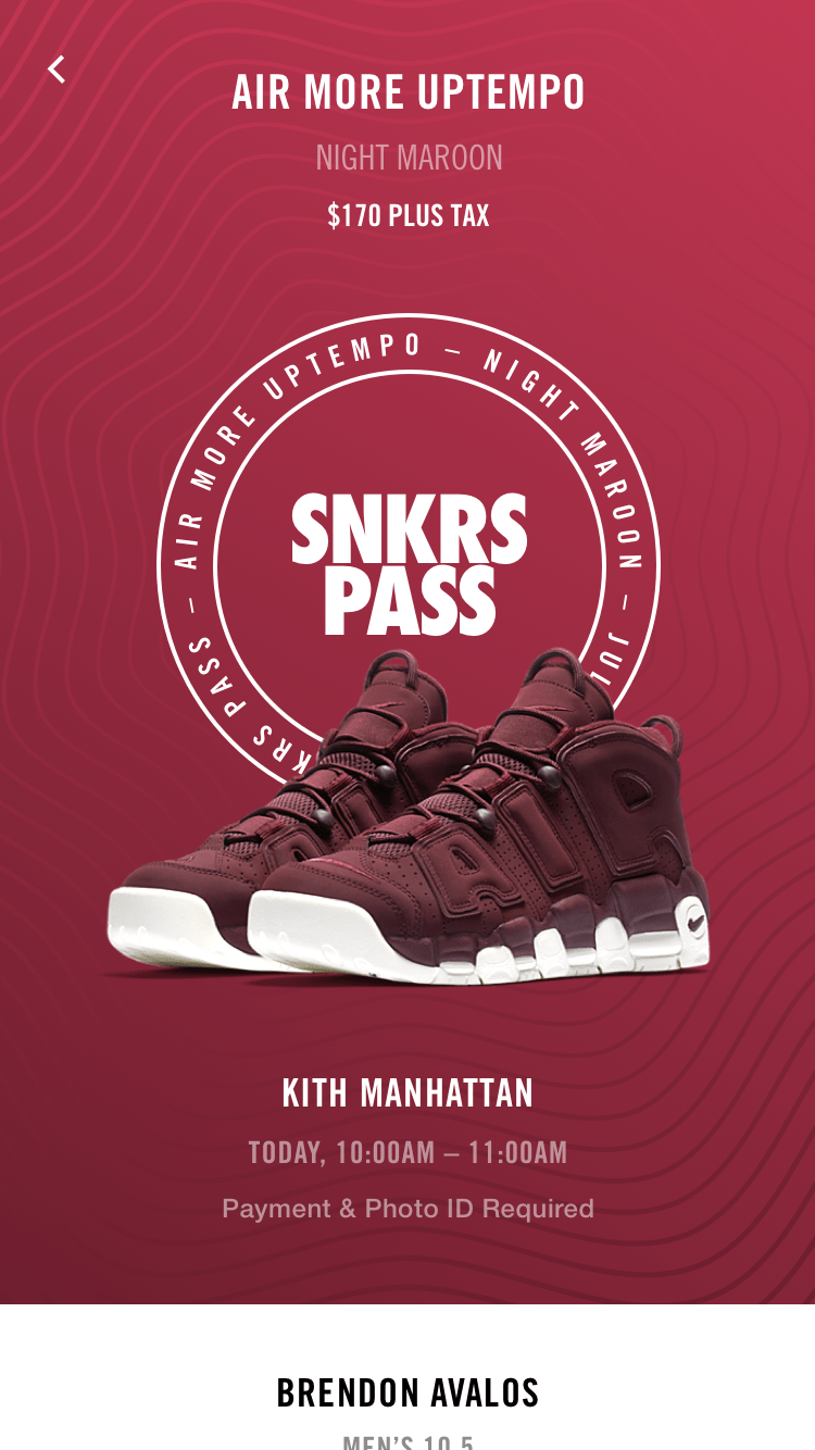 The SNKRS Pass screen when the pass is