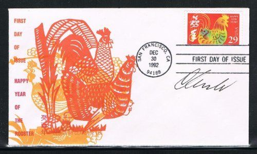1993 - USA Happy New Year First Day Cover for Year of the Rooster, 1st of the Lunar New Year Stamp Issued by USPS in San Francisco on 12/30/1992, Stamp and Cover And AUTOGRAPHED by Clarence Lee of Honolulu by Dlaw. $19.99. 1993 - USA Happy New Year First Day Cover for Year of the Rooster, 1st of the Lunar New Year Stamp Issued by USPS in San Francisco on 12/30/1992, Stamp and Cover And AUTOGRAPHED by Clarence Lee of Honolulu