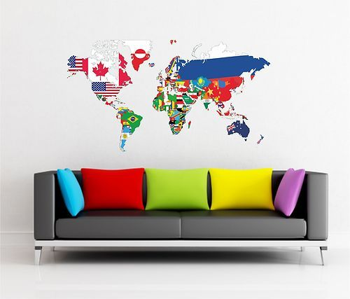 World map wall sticker art vinyl graphics decal lv71 ebay maps world map wall sticker art vinyl graphics decal lv71 ebay gumiabroncs Gallery