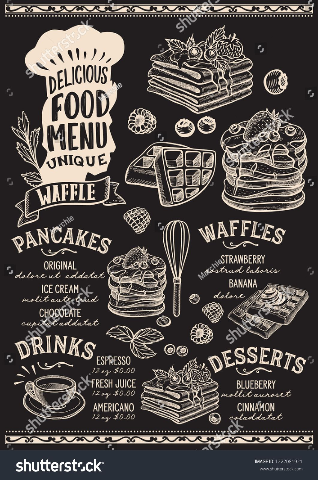 7e5ab4921c551 ... menu template for restaurant on a blackboard background vector  illustration brochure for gourmet food and drink cafe. Design layout with chefs  hat ...
