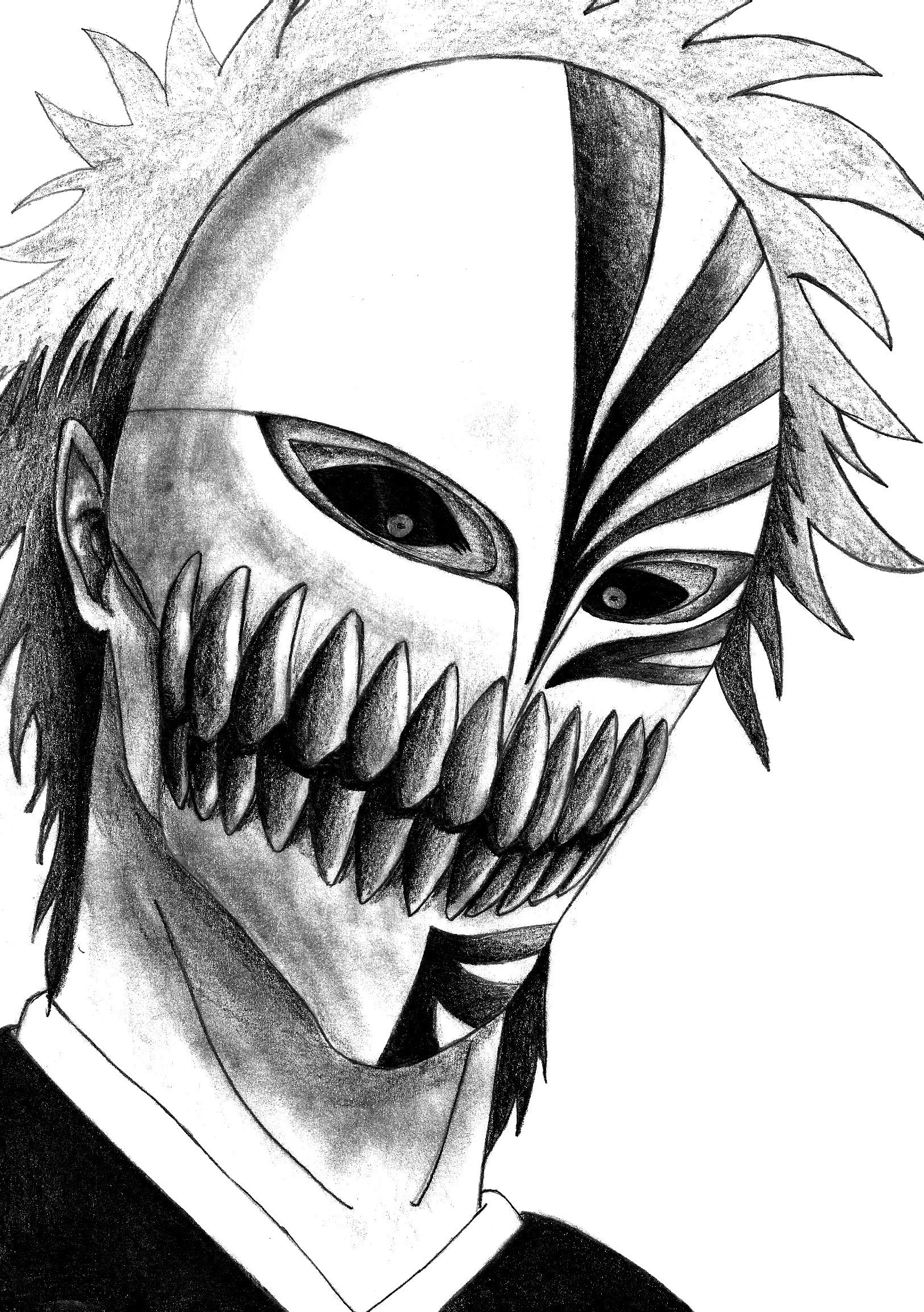 Bleach: Kurosaki Ichigo Hollow Mask/Shinigami | Anime drawings ...