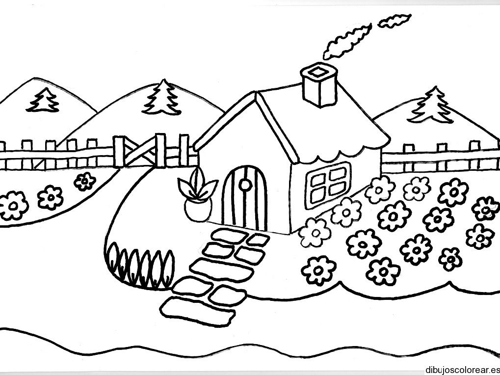 Dibujo De Una Casa Con Chimenea Y Humo Dibujos Para Colorear Coloring Pages Coloring Books Free Coloring Pages