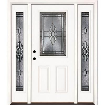 Beautiful Prehung Fiberglass Entry Door with Sidelights