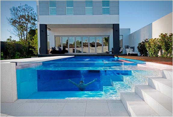 clear pool side