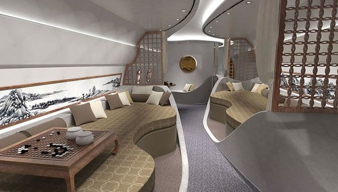 A Private Jet Cabin Concept With Feng Shui Inspired Interiors